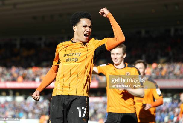 Helder Costa of Wolverhampton Wanderers celebrates after scoring a goal to make it 3-1 during the Sky Bet Championship match between Wolverhampton...