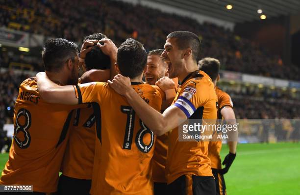 Helder Costa of Wolverhampton Wanderers celebrates after scoring a goal to make it it 41 during the Sky Bet Championship match between Wolverhampton...