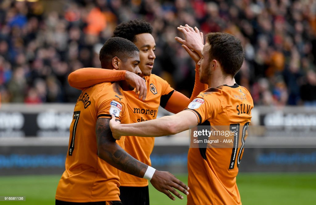 Helder Costa of Wolverhampton Wanderers celebrates after scoring a goal to make it 2-0 during the Sky Bet Championship match between Wolverhampton and Queens Park Rangers at Molineux on February 10, 2018 in Wolverhampton, England.