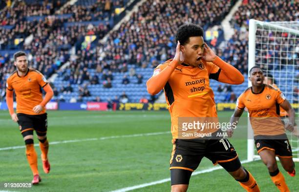 Helder Costa of Wolverhampton Wanderers celebrates after scoring a goal to make it 11 during the Sky Bet Championship match between Preston North End...