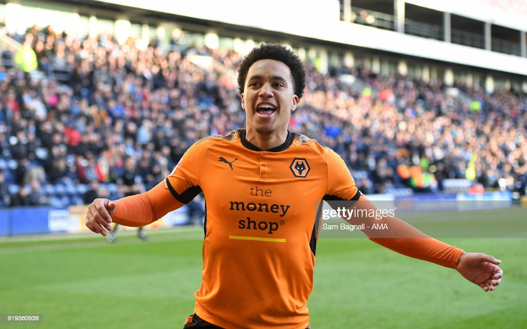 Helder Costa of Wolverhampton Wanderers celebrates after scoring a goal to make it 1-1 during the Sky Bet Championship match between Preston North End and Wolverhampton at Deepdale on February 17, 2018 in Preston, England.