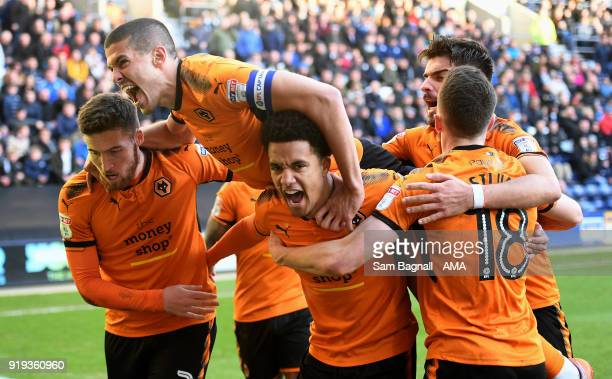 Helder Costa of Wolverhampton Wanderers celebrates after scoring a goal to make it 1-1 during the Sky Bet Championship match between Preston North...