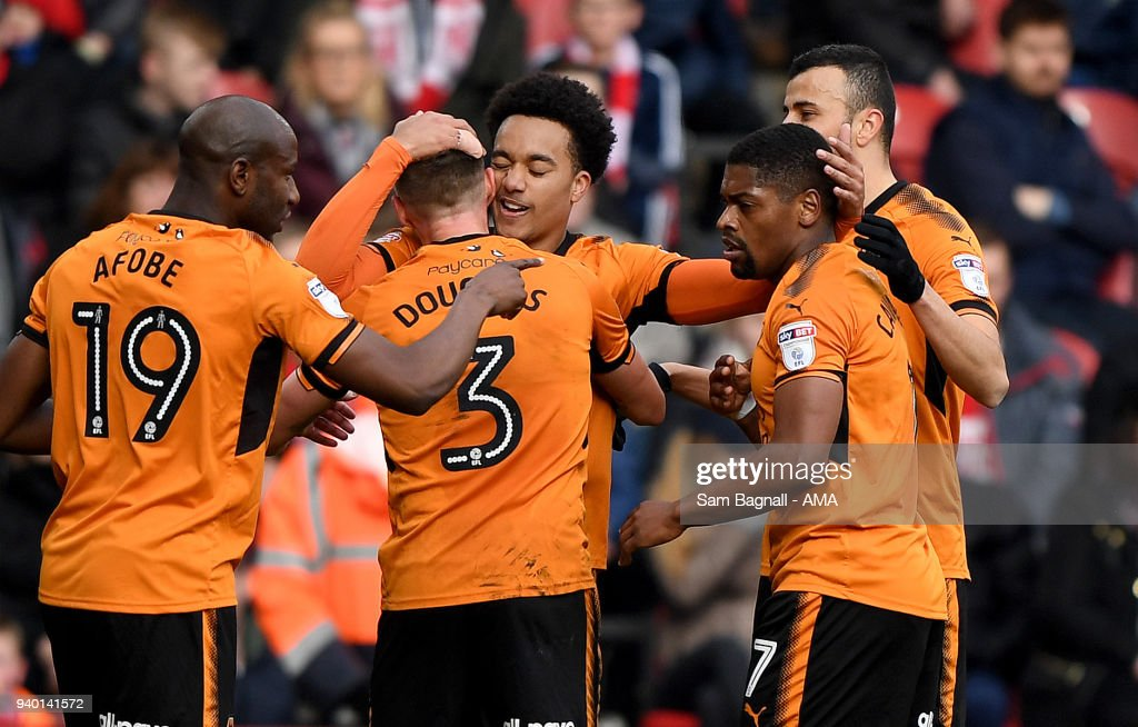 Helder Costa of Wolverhampton Wanderers celebrates after scoring a goal to make it 0-1 during the Sky Bet Championship match between Middlesbrough and Wolverhampton Wanderers at Riverside Stadium on March 30, 2018 in Middlesbrough, England.