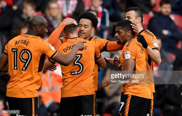 Helder Costa of Wolverhampton Wanderers celebrates after scoring a goal to make it 01 during the Sky Bet Championship match between Middlesbrough and...