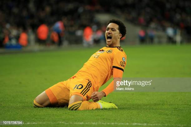 Helder Costa of Wolverhampton Wanderers celebrates after scoring his team's third goal during the Premier League match between Tottenham Hotspur and...
