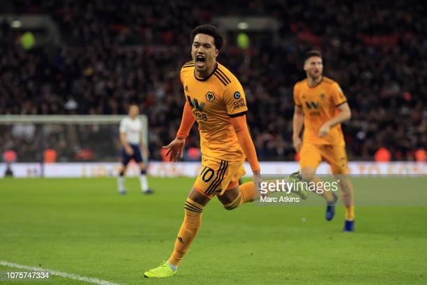 Helder Costa of Wolverhampton Wanderers celebrates scoring their 3rd goal during the Premier League match between Tottenham Hotspur and Wolverhampton...