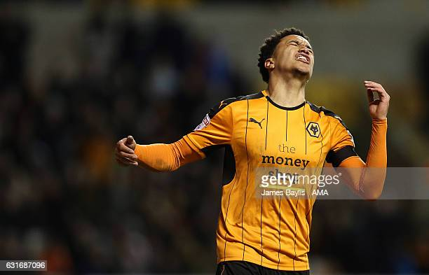 Helder Costa of Wolverhampton Wanderers reacts after missing a chance to score during the Sky Bet Championship match between Wolverhampton Wanderers...