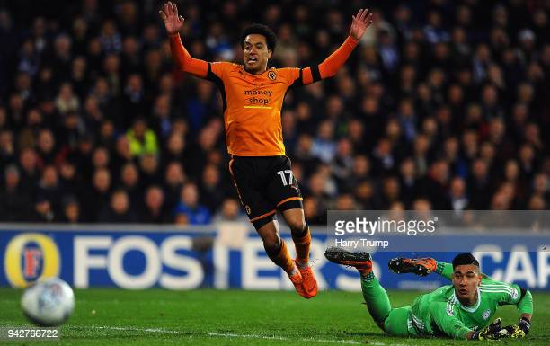 Helder Costa of Wolverhampton Wanderers reacts after missing a chance as Neil Etheridge of Cardiff City looks on during the Sky Bet Championship...
