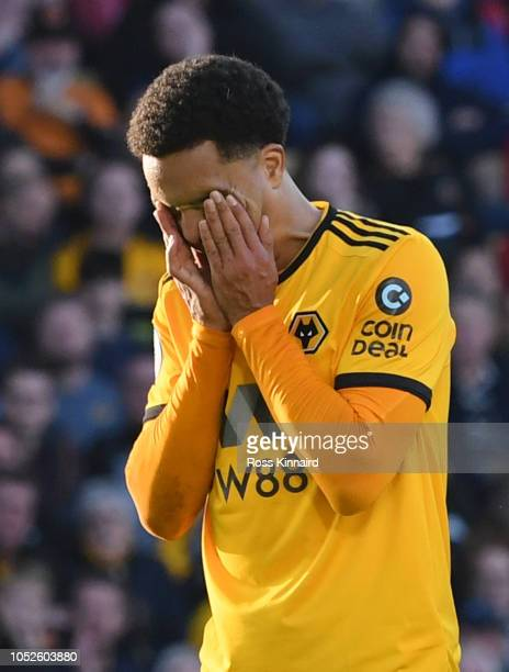 Helder Costa of Wolverhampton Wanderers reacts during the Premier League match between Wolverhampton Wanderers and Watford FC at Molineux on October...