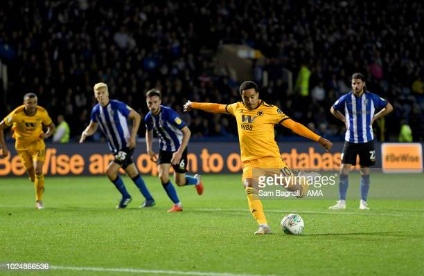Helder Costa of Wolverhampton Wanderers scores a goal to make it 02 from a penalty kick during the Carabao Cup Second Round match between Sheffield...