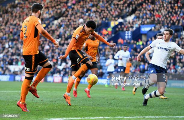 Helder Costa of Wolverhampton Wanderers scores a goal to make it 11 during the Sky Bet Championship match between Preston North End and Wolverhampton...