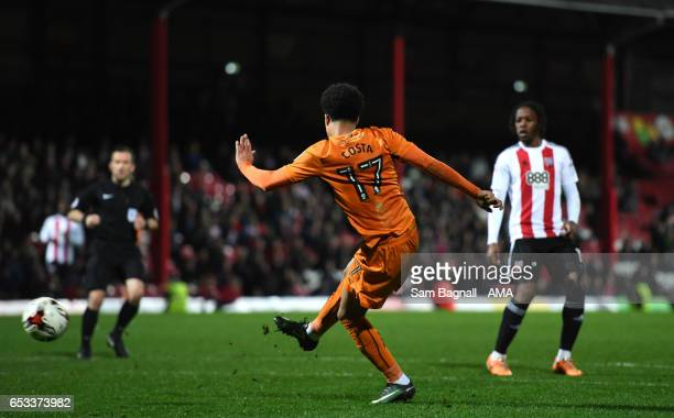 Helder Costa of Wolverhampton Wanderers scores a goal to make it 12 during the Sky Bet Championship match between Brentford and Wolverhampton...