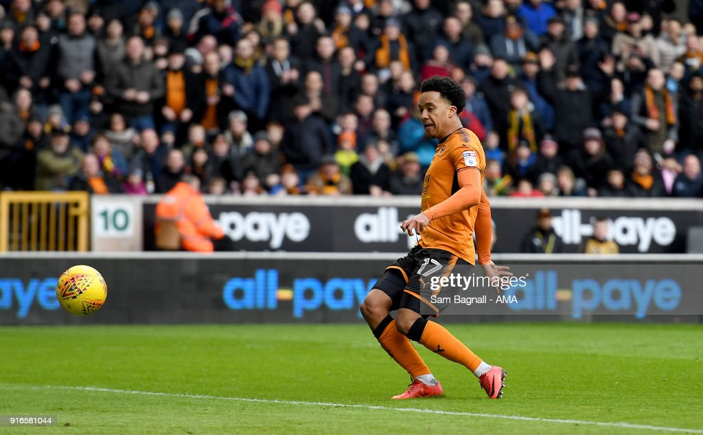 Helder Costa of Wolverhampton Wanderers scores a goal to make it 2-0 during the Sky Bet Championship match between Wolverhampton and Queens Park Rangers at Molineux on February 10, 2018 in Wolverhampton, England.
