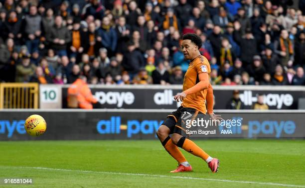 Helder Costa of Wolverhampton Wanderers scores a goal to make it 20 during the Sky Bet Championship match between Wolverhampton and Queens Park...