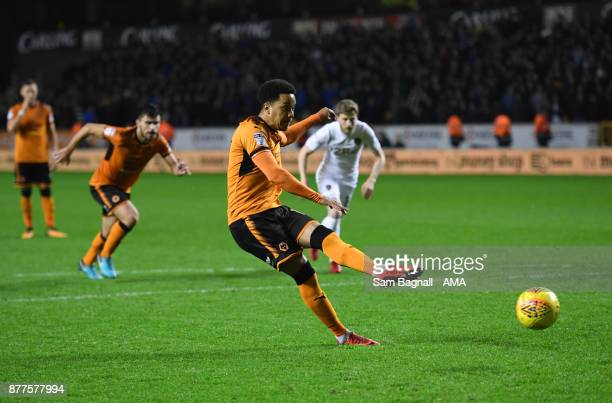 Helder Costa of Wolverhampton Wanderers scores a goal to make it 41 during the Sky Bet Championship match between Wolverhampton and Leeds United at...