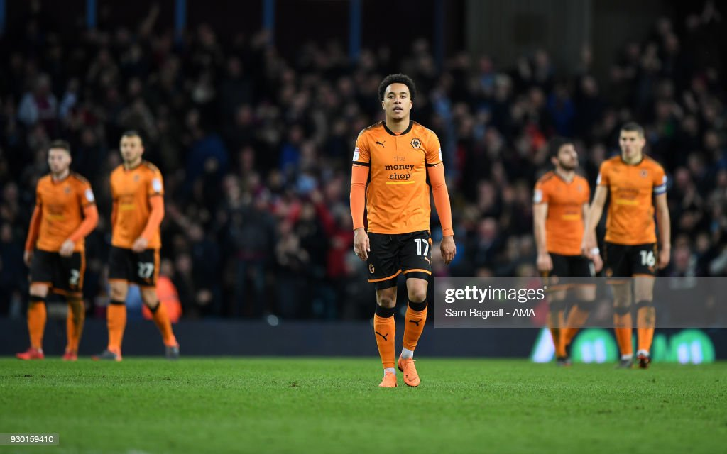 Helder Costa of Wolverhampton Wanderers stands dejected during the Sky Bet Championship match between Aston Villa and Wolverhampton Wanderers at Villa Park on March 10, 2018 in Birmingham, England.