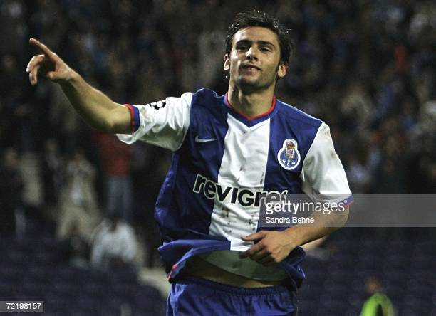 Helder Postiga of Porto celebrates scoring the third goal during the UEFA Champions League group G match between FC Porto and Hamburger SV at the...