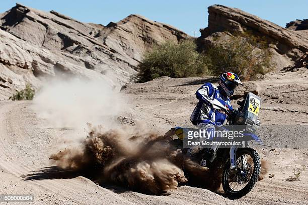 Helder Rodrigues of Portugal riding on and for YAMAHA WR450F YAMALUBE YAMAHA OFFICIAL RALLY TEAM compete on day 12 / stage eleven between La Rioja to...