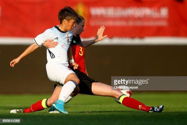Heleen Jaques of Belgium challenchallenges Kumi YokoKumi Yokoyama of Jof Japan during the Women's International Friendly match between Belgium and...
