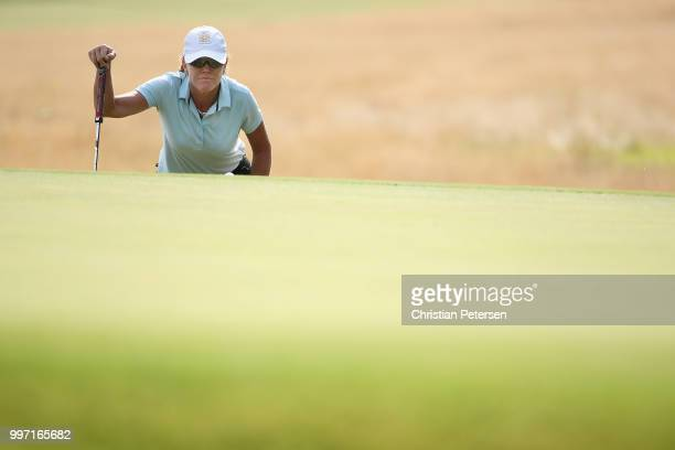 Helen Alfredsson of Sweden looks over the seventh green during the first round of the US Senior Women's Open at Chicago Golf Club on July 12 2018 in...