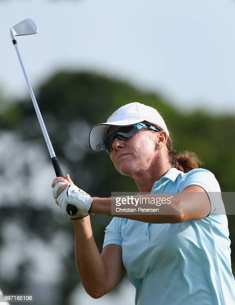 Helen Alfredsson of Sweden plays a tee shot on the seventh hole during the first round of the US Senior Women's Open at Chicago Golf Club on July 12...