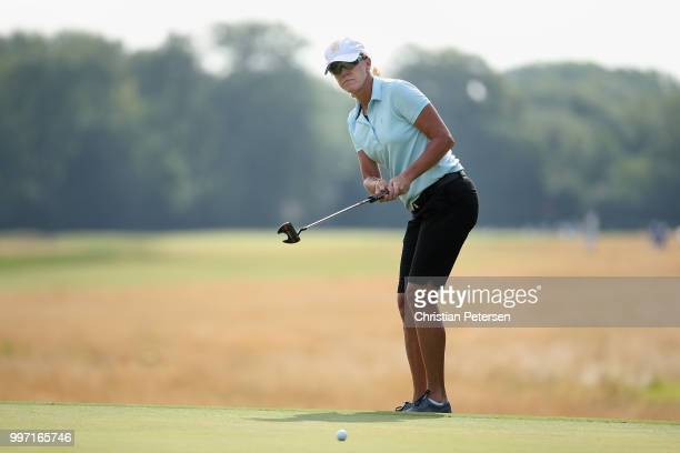 Helen Alfredsson of Sweden putts on the seventh green during the first round of the US Senior Women's Open at Chicago Golf Club on July 12 2018 in...