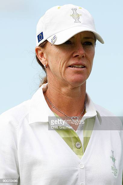 Helen Alfredsson of the European Team walks off of the 3rd hole during the Saturday morning Fourball matches at the 2009 Solheim Cup at Rich Harvest...