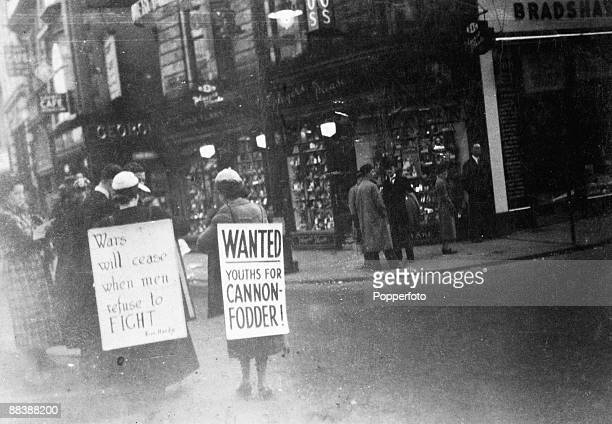 Helen and Alison Coles demonstrate for peace 1938