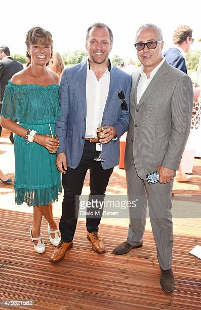 Helen BowenGreen Dean Andrews and Jon Zammett Head of PR for Audi UK attend the Audi Polo Challenge 2015 at Cambridge County Polo Club on July 3 2015...