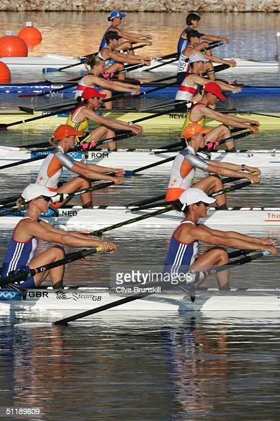 Helen Casey and Tracy Langlands of Great Britain prepare to compete in the women's lightweight double sculls semifinal on August 19 2004 during the...