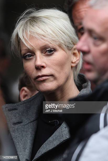 Helen Chamberlain attends the funeral of Jocky Wilson at Kirkcaldy crematorium on April 2 2012 in Kirkcaldy Mr Wilson had been suffering with a lung...