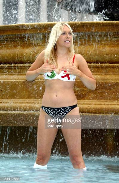 Helen Chamberlain during Soccer AM Presenter Helen Chamberlain Launches Triumph's New Soccer Bra at Trafalgar Square in London Great Britain