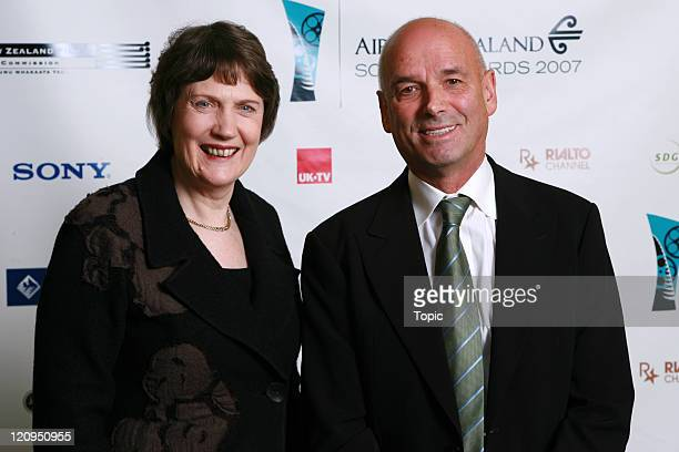 Helen Clark Martin Campbell pose back stage on August 1 2007 in Auckland New Zealand