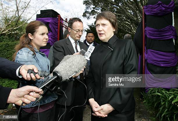 Helen Clark, New Zealand Prime Minister addresses the media after paying her respects to the Late King of Tonga, Taufa'ahau Tupou IV in Epson,...