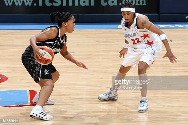 Helen Darling of the San Antonio Silver Stars looks to maneuver against Betty Lennox of the Atlanta Dream during the WNBA game on June 18 2008 at...