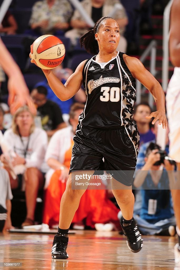 Helen Darling #30 of the San Antonio Silver Stars moves the ball against the Phoenix Mercury during Game One of the 2010 WNBA Western Conference Semifinals on August 26, 2010 at U.S. Airways Center in Phoenix, Arizona. Phoenix defeated San Antonio 106 - 93.