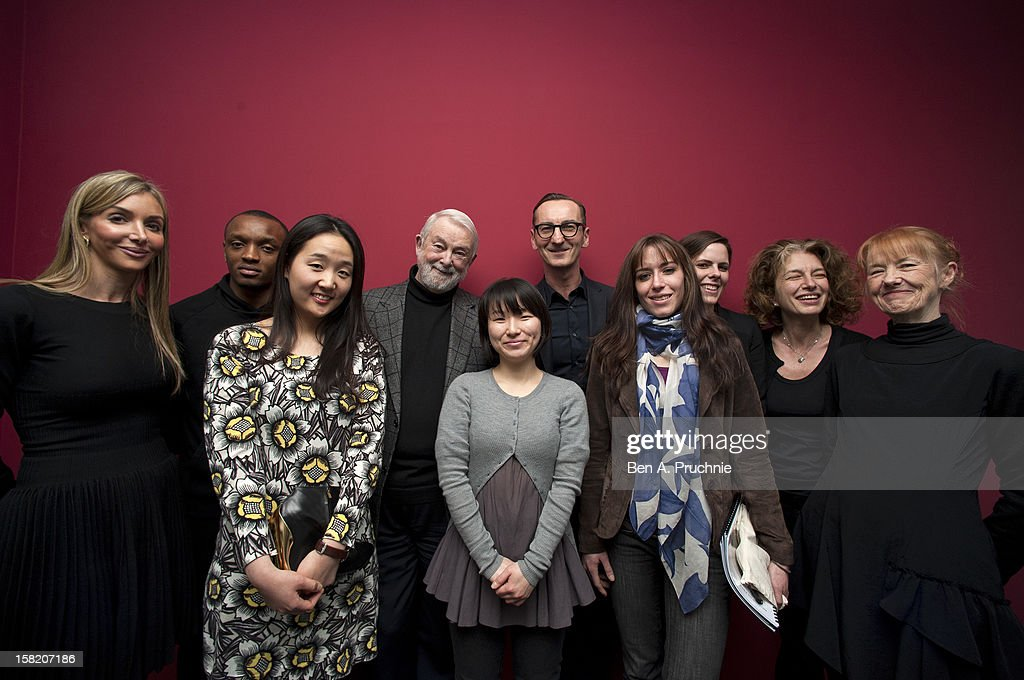Helen David, Rostand Tchonsini, Sangmin Park, Colin Mcdowell, Min Kyung Song, Bruno Frisoni, Emma Boutet, Pauline, Courtois, Susannah Frankel and Sue Saunders attends the Fashion Fringe and Accessories 2012 award at IMG Fashion, on December 11, 2012 in London, England.
