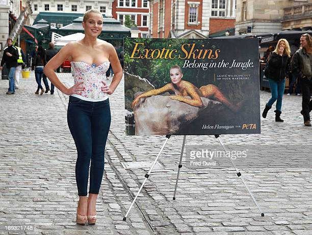 Helen Flanagan unveils her new PETA campaign at Covent Garden Piazza on May 23 2013 in London England