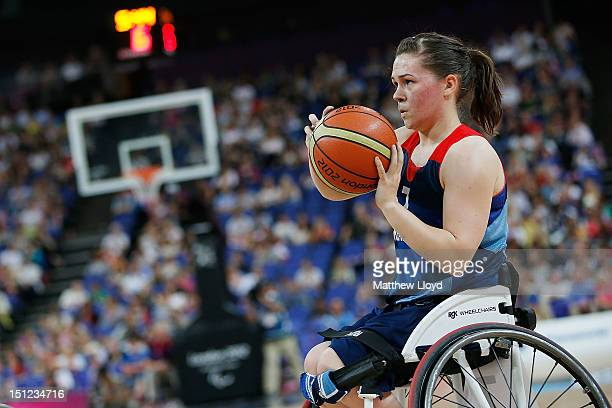 Helen Freeman of Great Britain makes a shot in the Women's Wheelchair Basketball quarter final against Germany on day 6 of the London 2012 Paralympic...