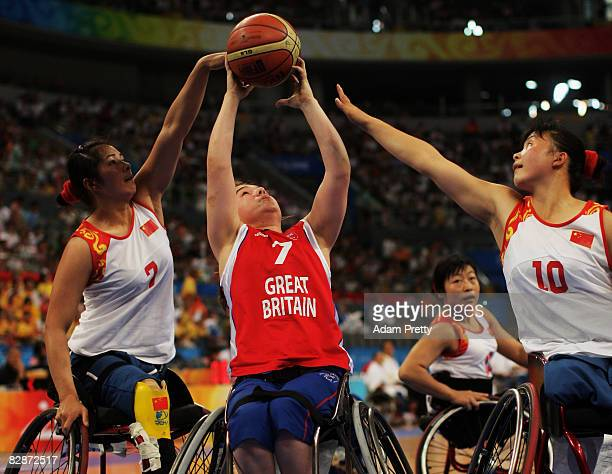 Helen Freeman of Great Britain shoots in the Wheelchair Basketball match between Great Britain and China at the National Indoor Stadium during day...