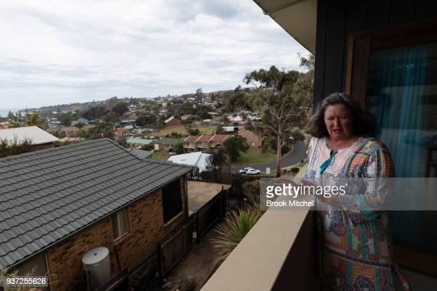 Helen Galton is pictured at her family home which survived the recent bushfires in Tathra Australia on March 24 2018 During the recent bushfires her...