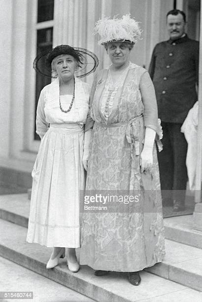 Helen Gardener and Carrie Chapman Catt stand together at the White House after the passage of the constitutional amendment that allowed women to vote...