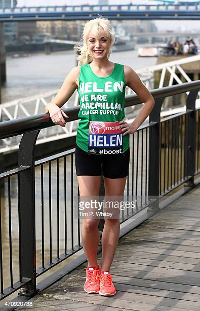 Helen George attends the photocall for the Celebrity Runners at Tower Hotel ahead of Sunday's London Marathon on April 24 2015 in London England