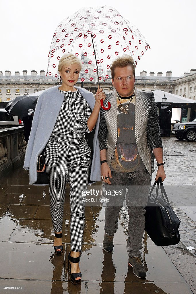 Helen George is pictured arriving at Somerset House during London Fashion Week on February 14, 2014 in London, England.