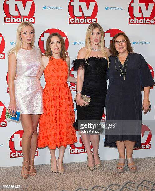 Helen George Laura Main Emerald Fennell and Annabelle Apsion arrive for the TV Choice Awards at The Dorchester Hotel on September 5 2016 in London...