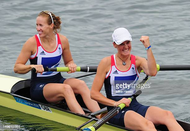 Helen Glover and Heather Stanning celebrate after winning gold in the Women's Pair Final on Day 5 of the London 2012 Olympic Games at Eton Dorney on...