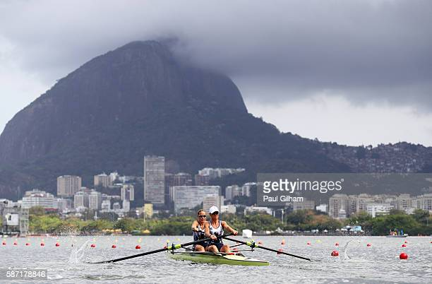 Helen Glover and Heather Stanning of Great Britain at the start of the Women's Pair Repechage 1 on Day 3 of the Rio 2016 Olympic Games at the Lagoa...