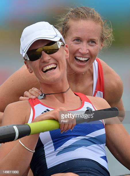 Helen Glover and Heather Stanning of Great Britain celebrate in their boat after winning gold in the Women's Pair Final A on Day 5 of the London 2012...