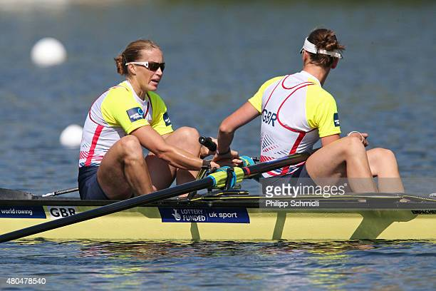 Helen Glover and Heather Stanning of Great Britain win the Women's Pair Final A during Day 3 of the 2015 World Rowing Cup III on Lucerne Rotsee on...