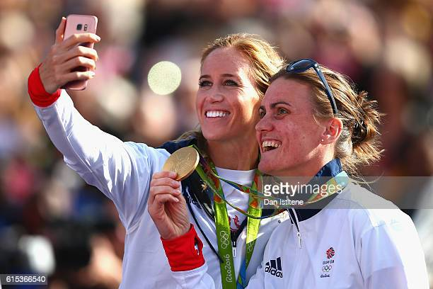 Helen Glover and Heather Stanning pose for a selfie during the Olympics Paralympics Team GB Rio 2016 Victory Parade at Trafalgar Square on October 18...